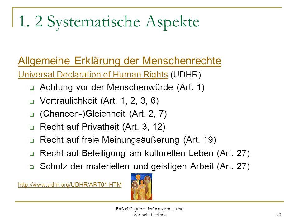 Rafael Capurro: Informations- und Wirtschaftsethik 20 1. 2 Systematische Aspekte Allgemeine Erklärung der Menschenrechte Universal Declaration of Huma