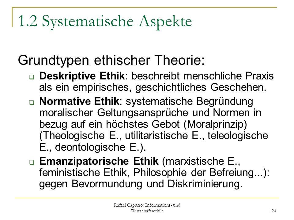 Rafael Capurro: Informations- und Wirtschaftsethik 24 1.2 Systematische Aspekte Grundtypen ethischer Theorie: Deskriptive Ethik: beschreibt menschlich