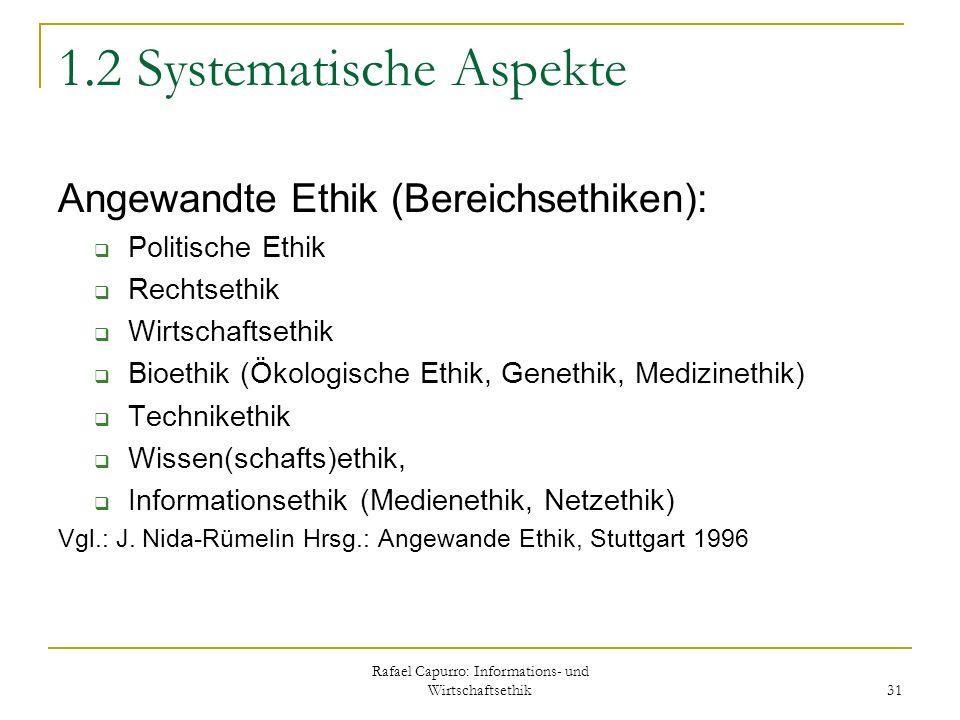Rafael Capurro: Informations- und Wirtschaftsethik 31 1.2 Systematische Aspekte Angewandte Ethik (Bereichsethiken): Politische Ethik Rechtsethik Wirts