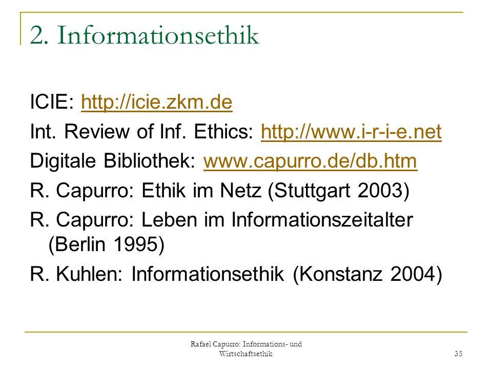 Rafael Capurro: Informations- und Wirtschaftsethik 35 2. Informationsethik ICIE: http://icie.zkm.dehttp://icie.zkm.de Int. Review of Inf. Ethics: http