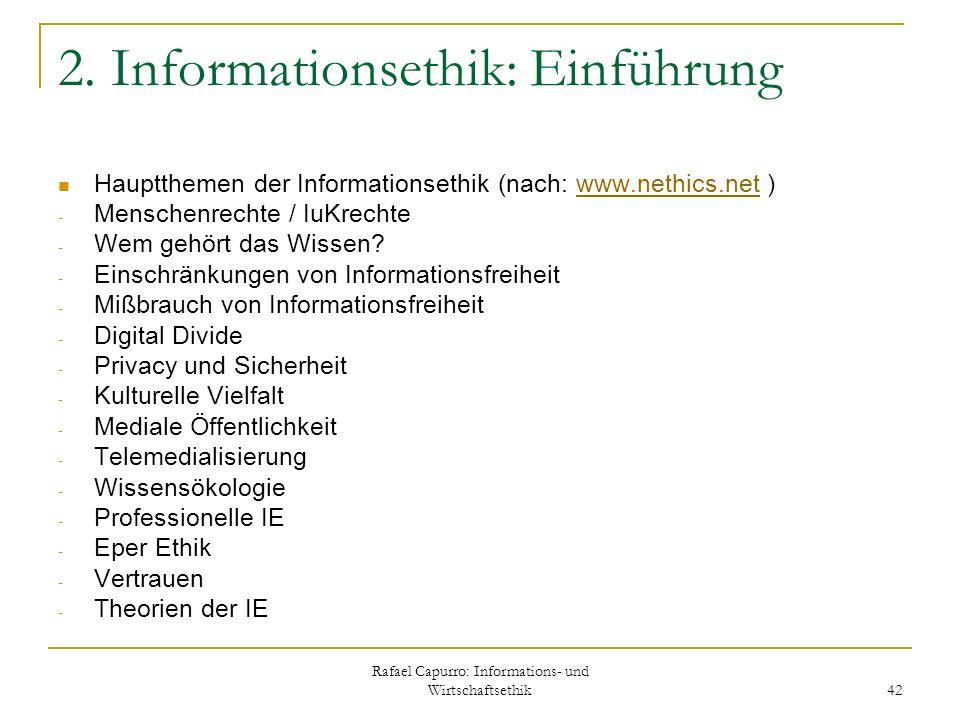Rafael Capurro: Informations- und Wirtschaftsethik 42 2. Informationsethik: Einführung Hauptthemen der Informationsethik (nach: www.nethics.net )www.n