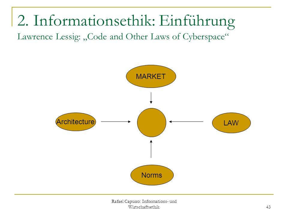 Rafael Capurro: Informations- und Wirtschaftsethik 43 2. Informationsethik: Einführung Lawrence Lessig: Code and Other Laws of Cyberspace Architecture