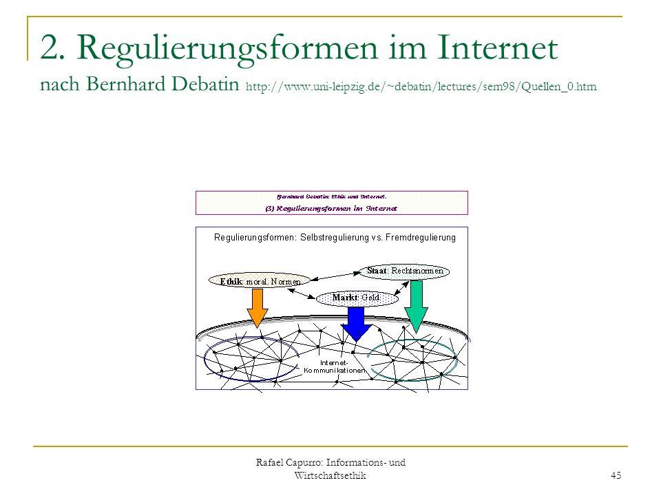 Rafael Capurro: Informations- und Wirtschaftsethik 45 2. Regulierungsformen im Internet nach Bernhard Debatin http://www.uni-leipzig.de/~debatin/lectu
