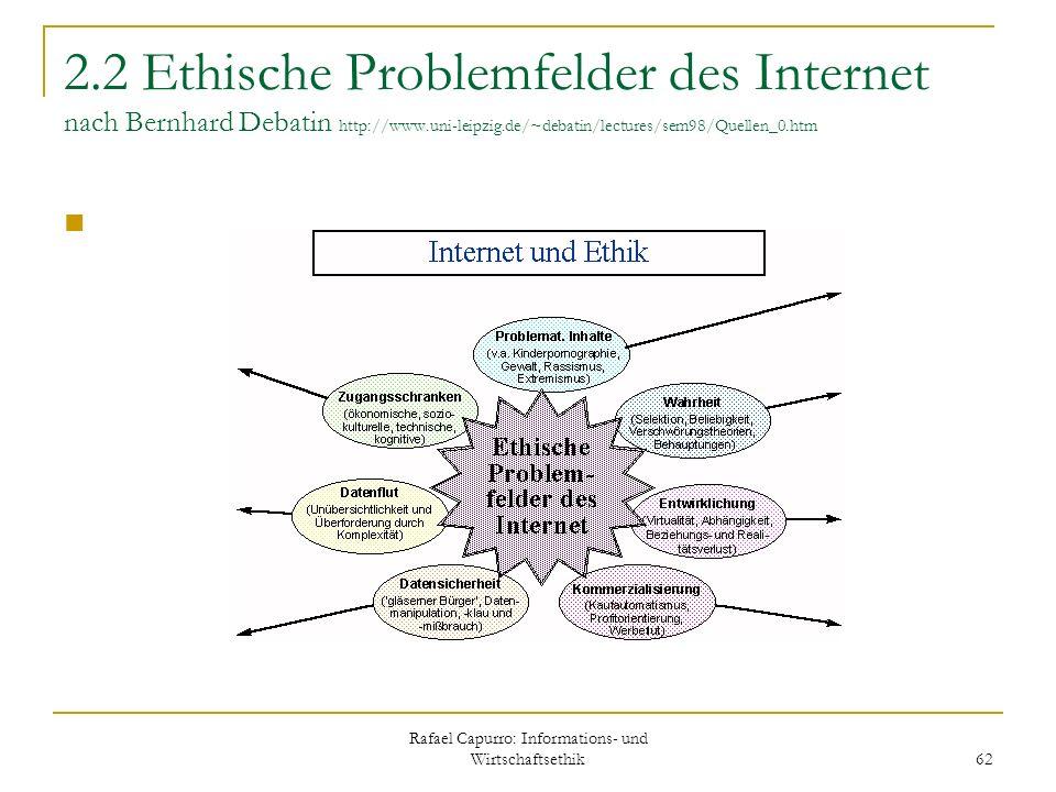 Rafael Capurro: Informations- und Wirtschaftsethik 62 2.2 Ethische Problemfelder des Internet nach Bernhard Debatin http://www.uni-leipzig.de/~debatin