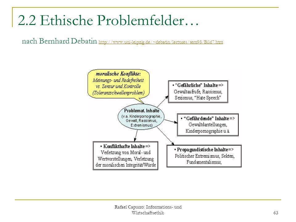 Rafael Capurro: Informations- und Wirtschaftsethik 63 2.2 Ethische Problemfelder… nach Bernhard Debatin http://www.uni-leipzig.de/~debatin/lectures/se