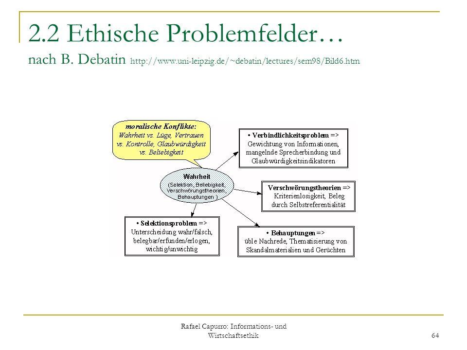 Rafael Capurro: Informations- und Wirtschaftsethik 64 2.2 Ethische Problemfelder… nach B. Debatin http://www.uni-leipzig.de/~debatin/lectures/sem98/Bi