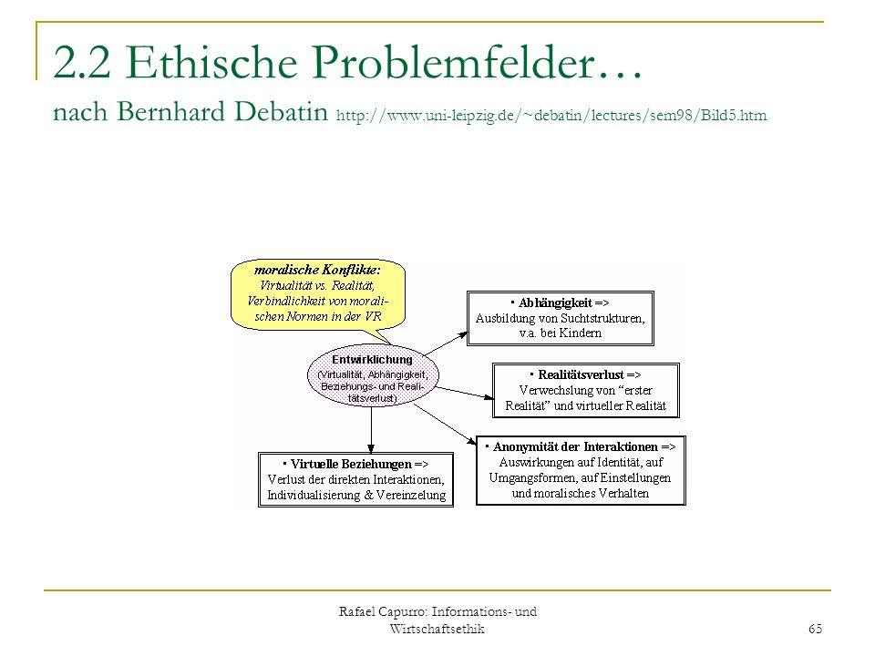 Rafael Capurro: Informations- und Wirtschaftsethik 65 2.2 Ethische Problemfelder… nach Bernhard Debatin http://www.uni-leipzig.de/~debatin/lectures/se