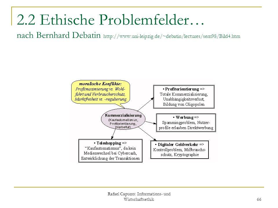 Rafael Capurro: Informations- und Wirtschaftsethik 66 2.2 Ethische Problemfelder… nach Bernhard Debatin http://www.uni-leipzig.de/~debatin/lectures/se