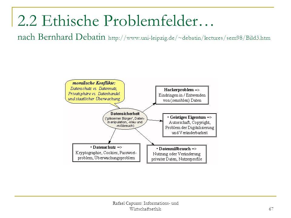 Rafael Capurro: Informations- und Wirtschaftsethik 67 2.2 Ethische Problemfelder… nach Bernhard Debatin http://www.uni-leipzig.de/~debatin/lectures/se