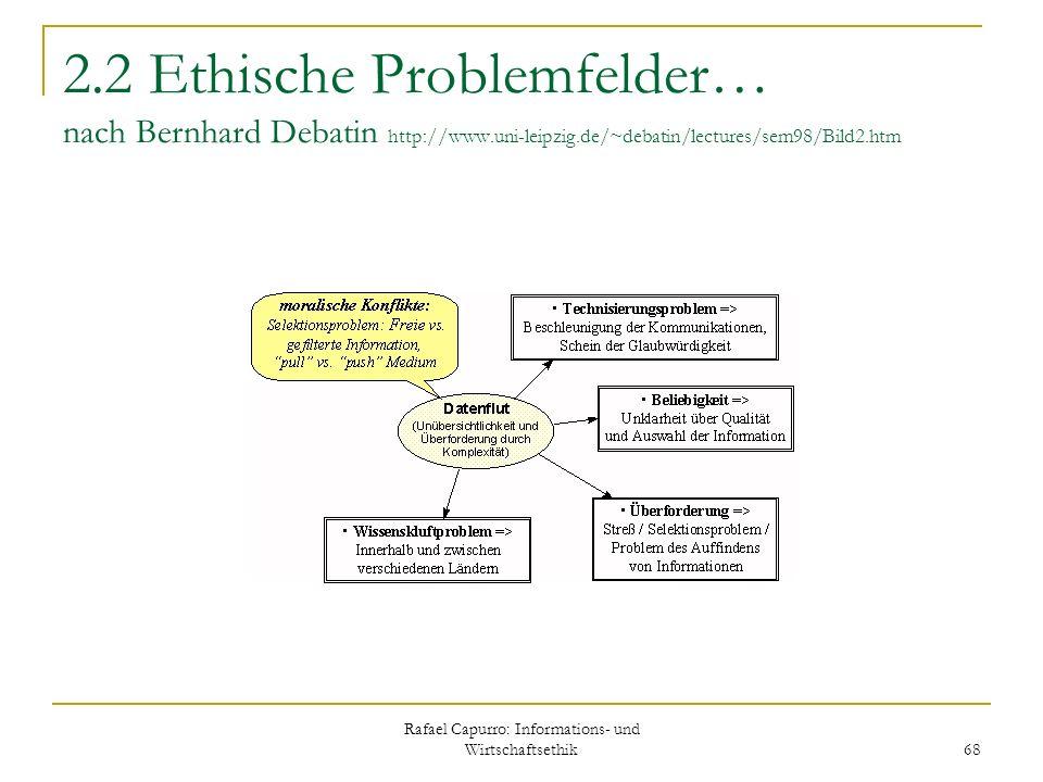 Rafael Capurro: Informations- und Wirtschaftsethik 68 2.2 Ethische Problemfelder… nach Bernhard Debatin http://www.uni-leipzig.de/~debatin/lectures/se