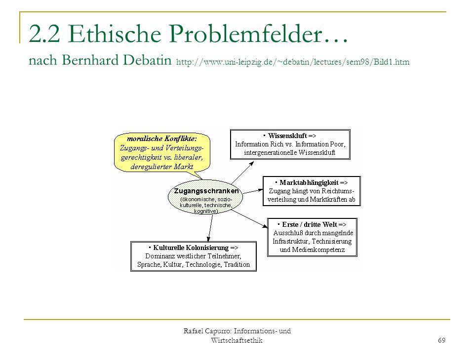 Rafael Capurro: Informations- und Wirtschaftsethik 69 2.2 Ethische Problemfelder… nach Bernhard Debatin http://www.uni-leipzig.de/~debatin/lectures/se