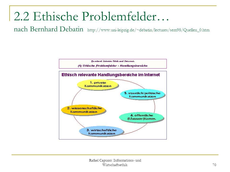 Rafael Capurro: Informations- und Wirtschaftsethik 70 2.2 Ethische Problemfelder… nach Bernhard Debatin http://www.uni-leipzig.de/~debatin/lectures/se
