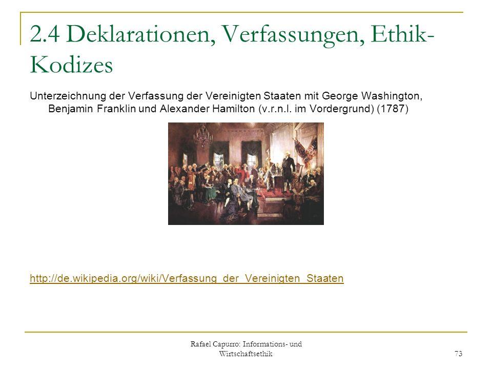 Rafael Capurro: Informations- und Wirtschaftsethik 73 2.4 Deklarationen, Verfassungen, Ethik- Kodizes Unterzeichnung der Verfassung der Vereinigten St