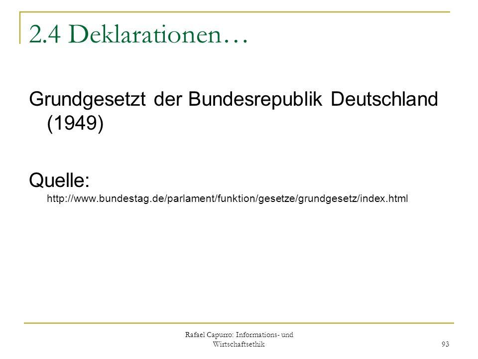 Rafael Capurro: Informations- und Wirtschaftsethik 93 2.4 Deklarationen… Grundgesetzt der Bundesrepublik Deutschland (1949) Quelle: http://www.bundest