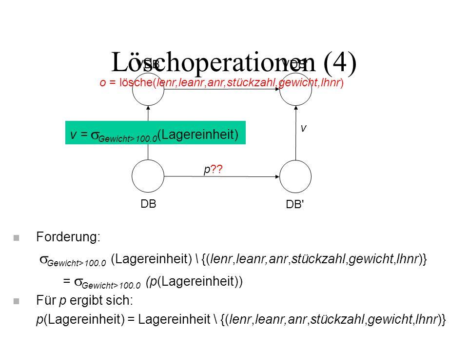 Löschoperationen (4) VDB VDB DB DB o = lösche(lenr,leanr,anr,stückzahl,gewicht,lhnr) p .