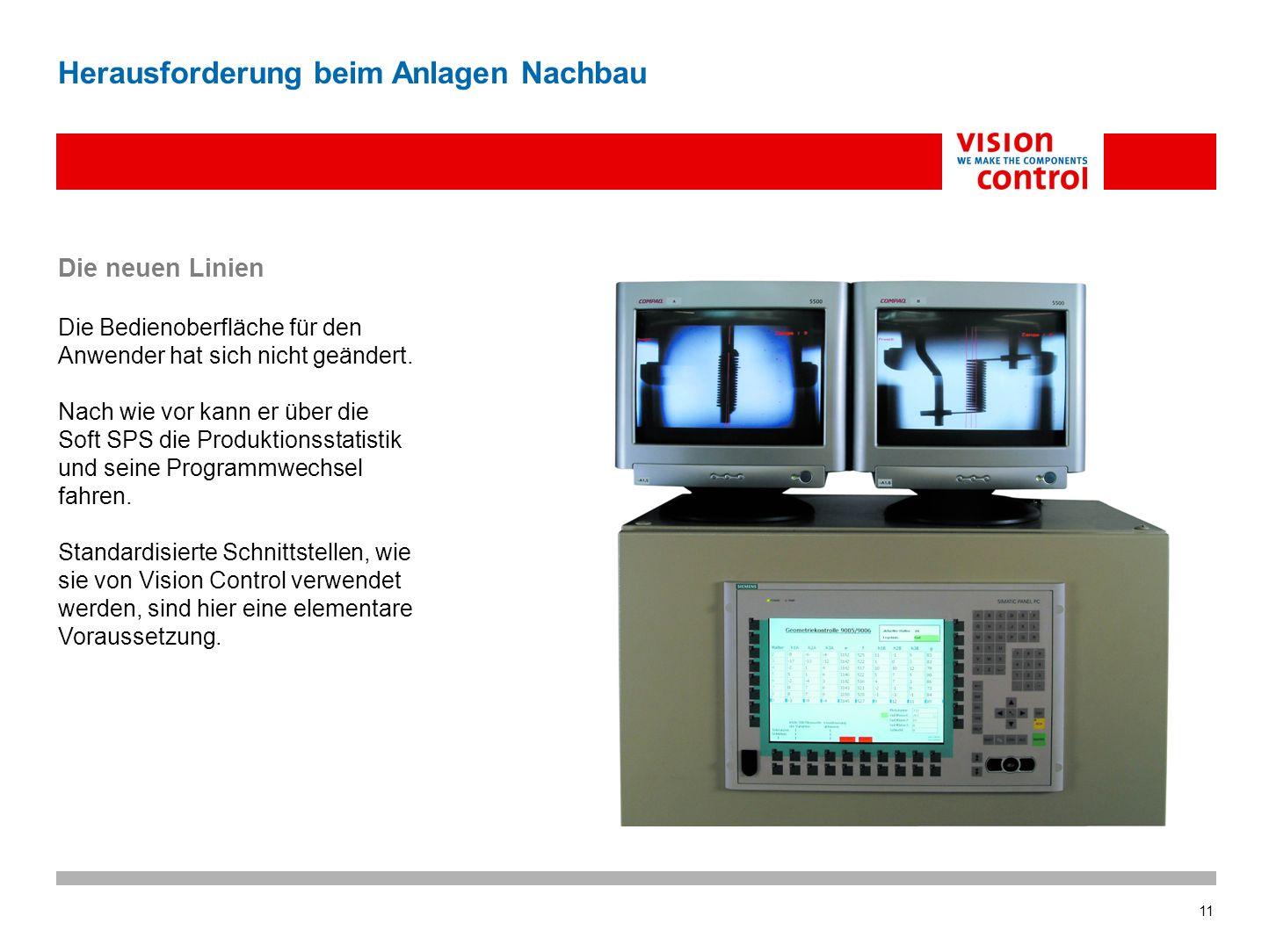 11 Herausforderung beim Anlagen Nachbau Die neuen Linien Die Bedienoberfläche für den Anwender hat sich nicht geändert.
