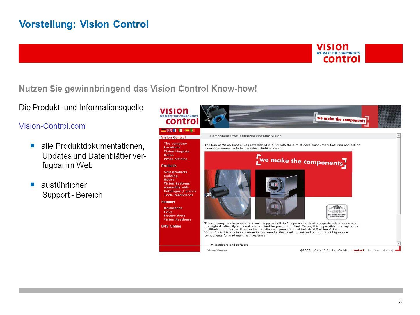 3 Vorstellung: Vision Control Nutzen Sie gewinnbringend das Vision Control Know-how.