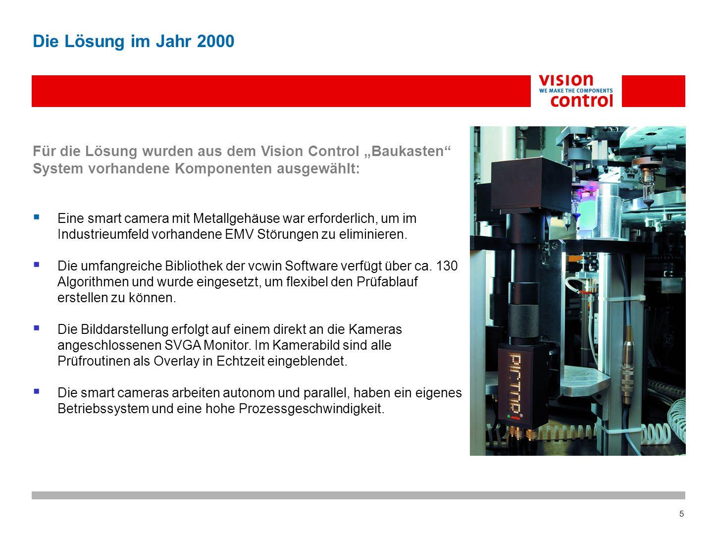 5 Die Lösung im Jahr 2000 Für die Lösung wurden aus dem Vision Control Baukasten System vorhandene Komponenten ausgewählt: Eine smart camera mit Metallgehäuse war erforderlich, um im Industrieumfeld vorhandene EMV Störungen zu eliminieren.