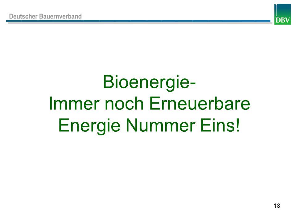 18 Bioenergie- Immer noch Erneuerbare Energie Nummer Eins!