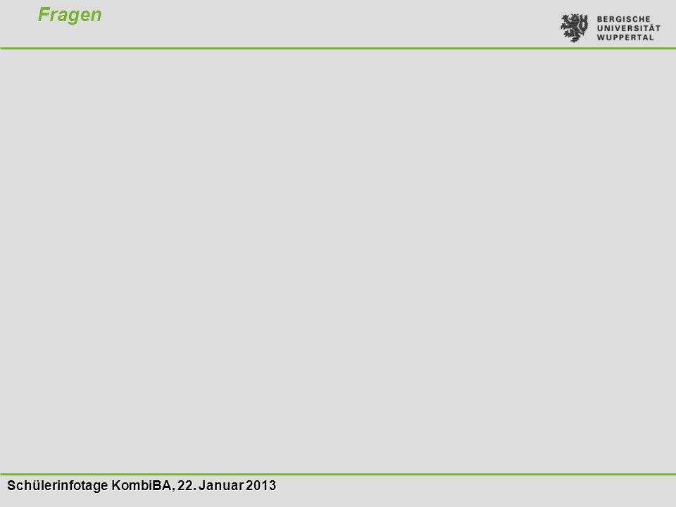 Schülerinfotage KombiBA, 22. Januar 2013 Fragen