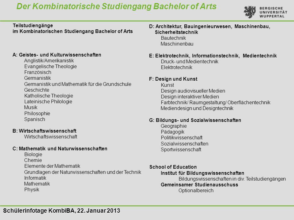 Schülerinfotage KombiBA, 22. Januar 2013 Der Kombinatorische Studiengang Bachelor of Arts Teilstudiengänge im Kombinatorischen Studiengang Bachelor of