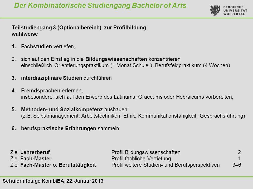 Schülerinfotage KombiBA, 22. Januar 2013 Der Kombinatorische Studiengang Bachelor of Arts Teilstudiengang 3 (Optionalbereich) zur Profilbildung wahlwe