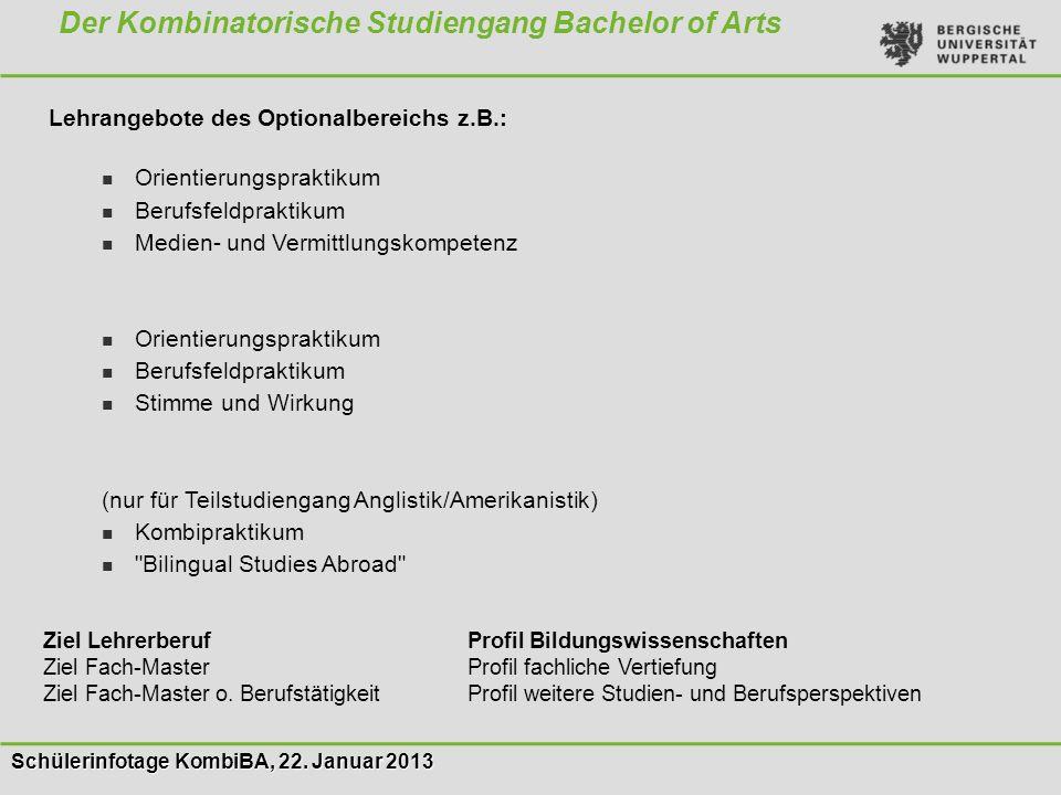 Schülerinfotage KombiBA, 22. Januar 2013 Der Kombinatorische Studiengang Bachelor of Arts Lehrangebote des Optionalbereichs z.B.: Orientierungspraktik