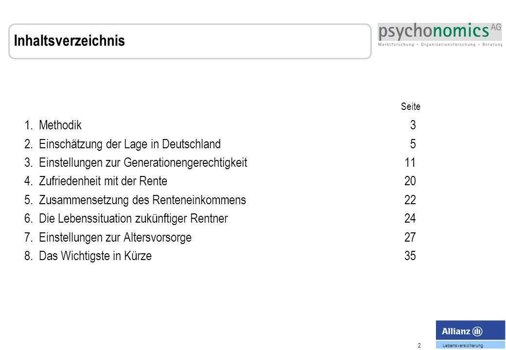 2 Lebensversicherung 1.Methodik 3 2. Einschätzung der Lage in Deutschland 5 3.