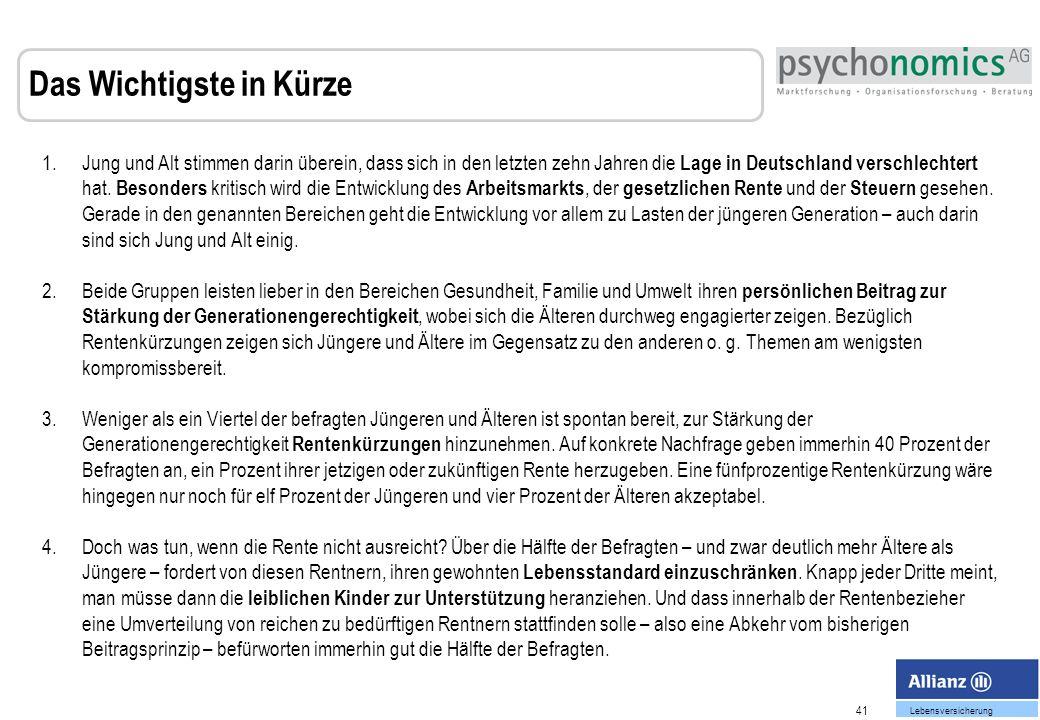 41 Lebensversicherung Das Wichtigste in Kürze 1.Jung und Alt stimmen darin überein, dass sich in den letzten zehn Jahren die Lage in Deutschland verschlechtert hat.