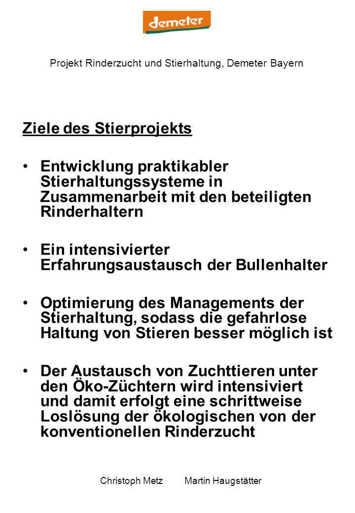 Projekt Rinderzucht und Stierhaltung, Demeter Bayern Christoph Metz Martin Haugstätter Ziele des Stierprojekts Entwicklung praktikabler Stierhaltungss