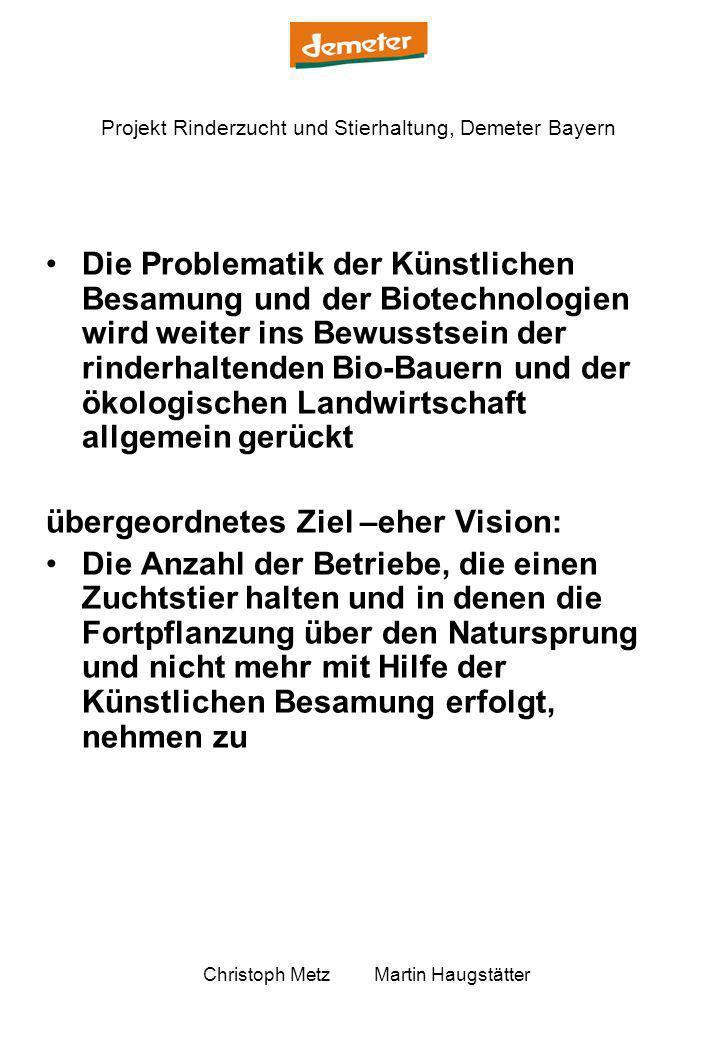Projekt Rinderzucht und Stierhaltung, Demeter Bayern Christoph Metz Martin Haugstätter Die Problematik der Künstlichen Besamung und der Biotechnologie