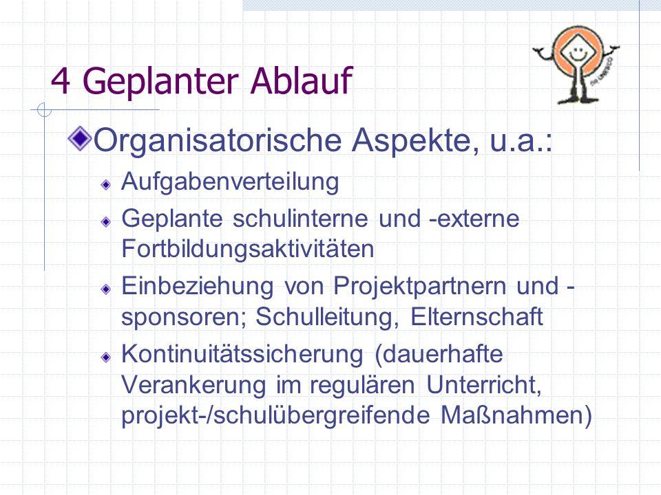 4 Geplanter Ablauf Organisatorische Aspekte, u.a.: Aufgabenverteilung Geplante schulinterne und -externe Fortbildungsaktivitäten Einbeziehung von Proj