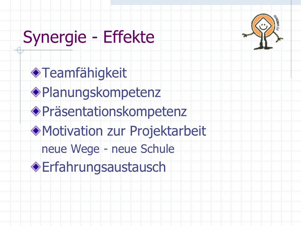 Synergie - Effekte Teamfähigkeit Planungskompetenz Präsentationskompetenz Motivation zur Projektarbeit neue Wege - neue Schule Erfahrungsaustausch