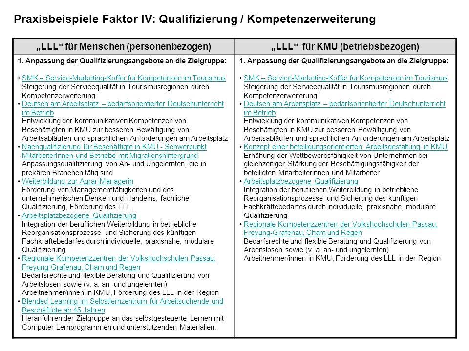 LLL für Menschen (personenbezogen)LLL für KMU (betriebsbezogen) 1. Anpassung der Qualifizierungsangebote an die Zielgruppe: SMK – Service-Marketing-Ko