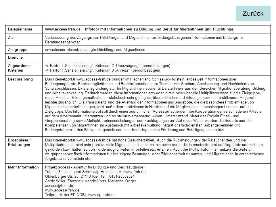 Beispielnamewww.access-frsh.de - Infotool mit Informationen zu Bildung und Beruf für MigrantInnen und Flüchtlinge ZielVerbesserung des Zugangs von Flü