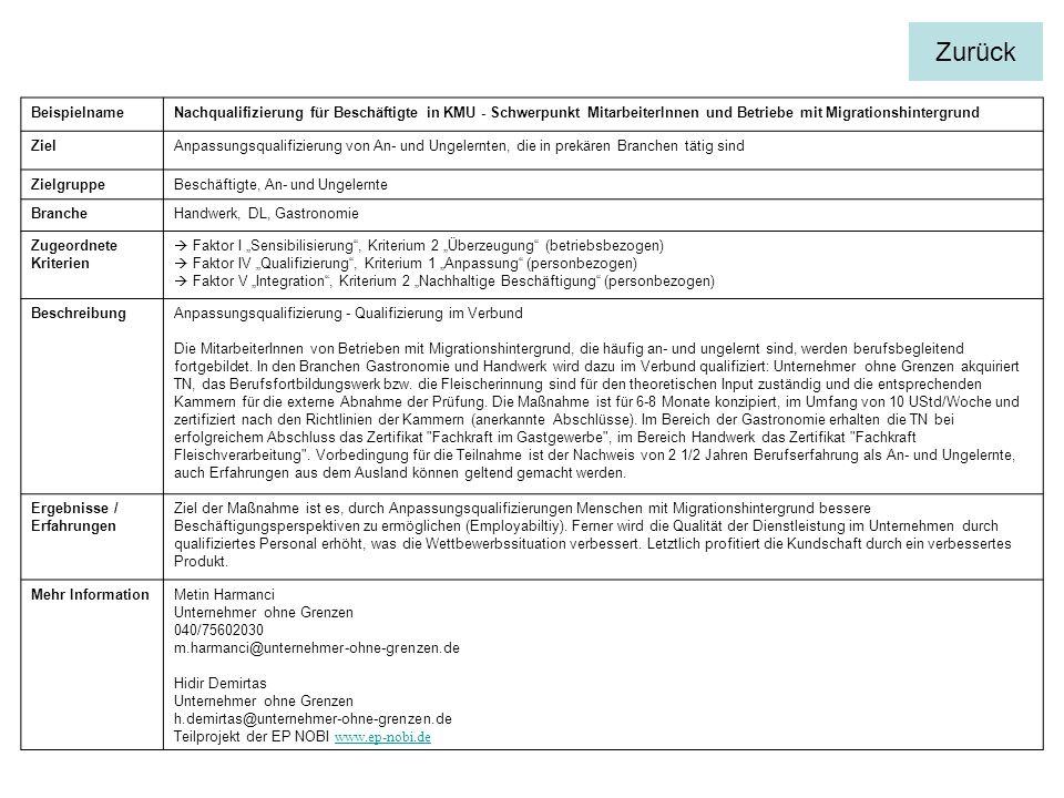 BeispielnameNachqualifizierung für Beschäftigte in KMU - Schwerpunkt MitarbeiterInnen und Betriebe mit Migrationshintergrund ZielAnpassungsqualifizierung von An- und Ungelernten, die in prekären Branchen tätig sind ZielgruppeBeschäftigte, An- und Ungelernte BrancheHandwerk, DL, Gastronomie Zugeordnete Kriterien Faktor I Sensibilisierung, Kriterium 2 Überzeugung (betriebsbezogen) Faktor IV Qualifizierung, Kriterium 1 Anpassung (personbezogen) Faktor V Integration, Kriterium 2 Nachhaltige Beschäftigung (personbezogen) BeschreibungAnpassungsqualifizierung - Qualifizierung im Verbund Die MitarbeiterInnen von Betrieben mit Migrationshintergrund, die häufig an- und ungelernt sind, werden berufsbegleitend fortgebildet.