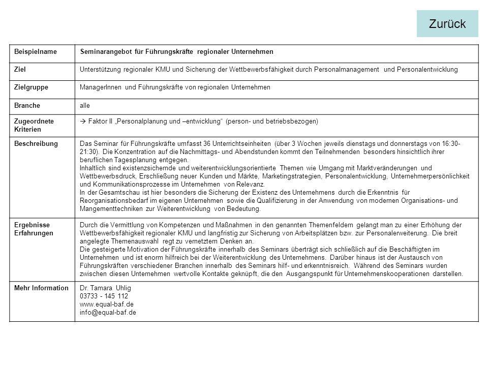 BeispielnameSeminarangebot für Führungskräfte regionaler Unternehmen ZielUnterstützung regionaler KMU und Sicherung der Wettbewerbsfähigkeit durch Per