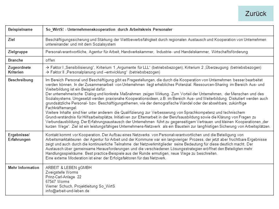 BeispielnameSo_WirtS! - Unternehmenskooperation durch Arbeitskreis Personaler ZielBeschäftigungssicherung und Stärkung der Wettbewerbsfähigkeit durch