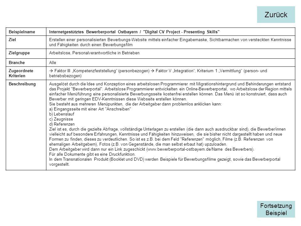 BeispielnameInternetgestütztes Bewerberportal Ostbayern /