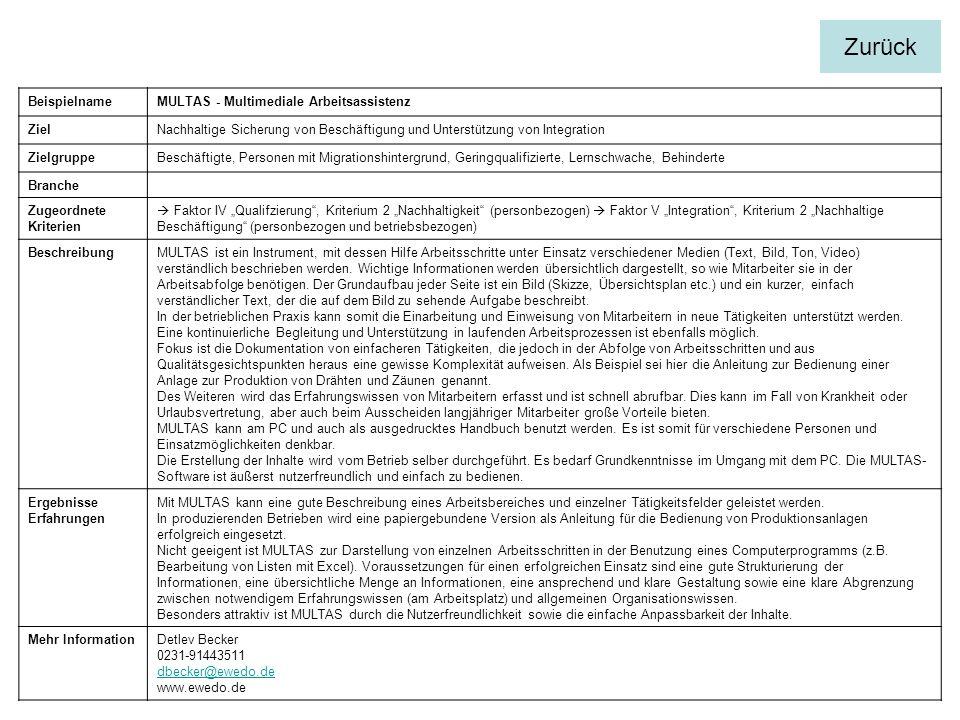 BeispielnameMULTAS - Multimediale Arbeitsassistenz ZielNachhaltige Sicherung von Beschäftigung und Unterstützung von Integration ZielgruppeBeschäftigte, Personen mit Migrationshintergrund, Geringqualifizierte, Lernschwache, Behinderte Branche Zugeordnete Kriterien Faktor IV Qualifzierung, Kriterium 2 Nachhaltigkeit (personbezogen) Faktor V Integration, Kriterium 2 Nachhaltige Beschäftigung (personbezogen und betriebsbezogen) BeschreibungMULTAS ist ein Instrument, mit dessen Hilfe Arbeitsschritte unter Einsatz verschiedener Medien (Text, Bild, Ton, Video) verständlich beschrieben werden.