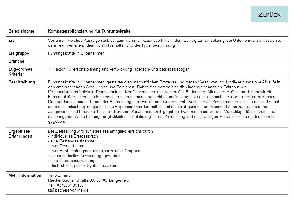 BeispielnameKompetenzbilanzierung für Führungskräfte ZielVerfahren, welches Aussagen zulässt zum Kommunikationsverhalten, dem Beitrag zur Umsetzung de