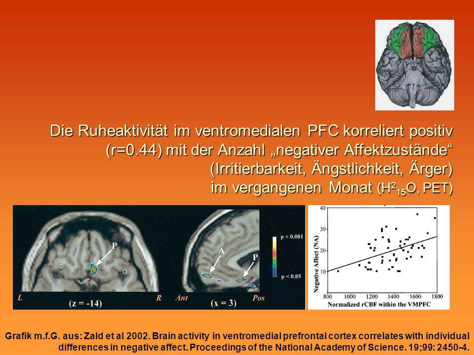 Die Ruheaktivität im ventromedialen PFC korreliert positiv (r=0.44) mit der Anzahl negativer Affektzustände (Irritierbarkeit, Ängstlichkeit, Ärger) im