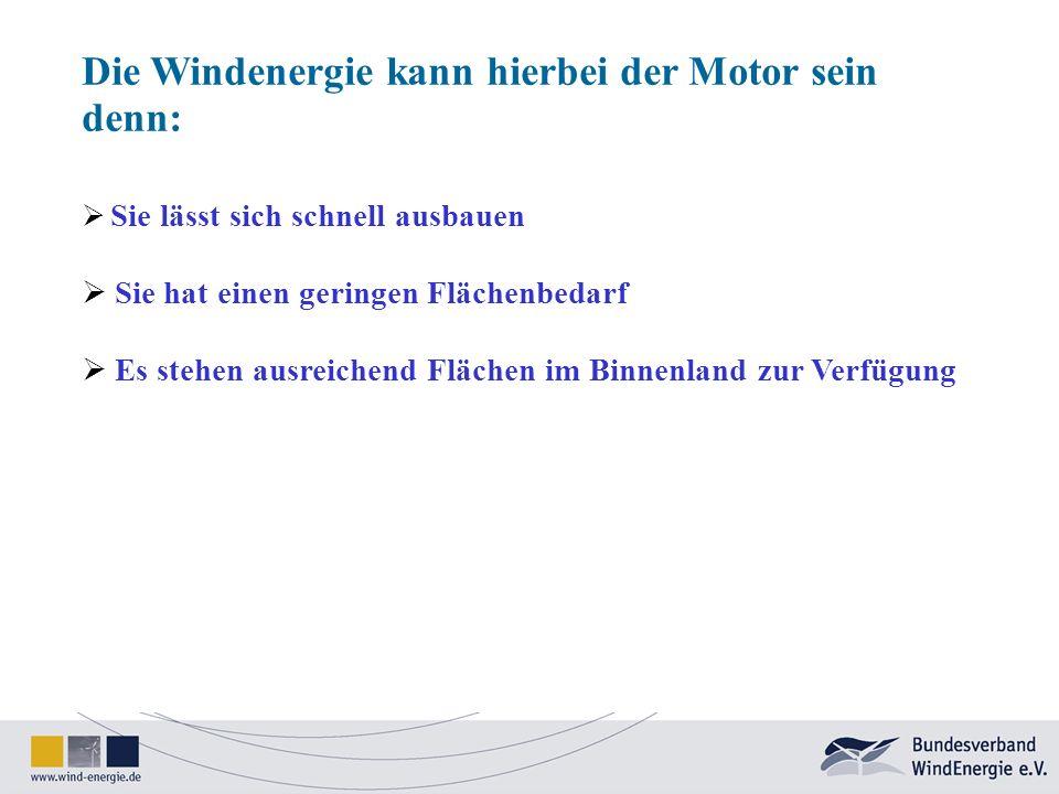 Die Windenergie kann hierbei der Motor sein denn: Sie lässt sich schnell ausbauen Sie hat einen geringen Flächenbedarf Es stehen ausreichend Flächen i