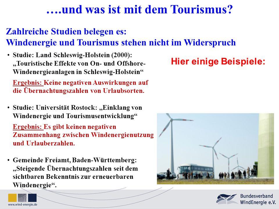Zahlreiche Studien belegen es: Windenergie und Tourismus stehen nicht im Widerspruch Studie: Land Schleswig-Holstein (2000): Touristische Effekte von