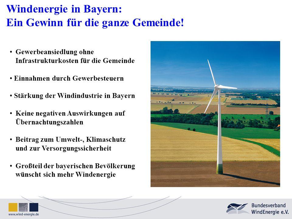 Windenergie in Bayern: Ein Gewinn für die ganze Gemeinde! Gewerbeansiedlung ohne Infrastrukturkosten für die Gemeinde Einnahmen durch Gewerbesteuern S