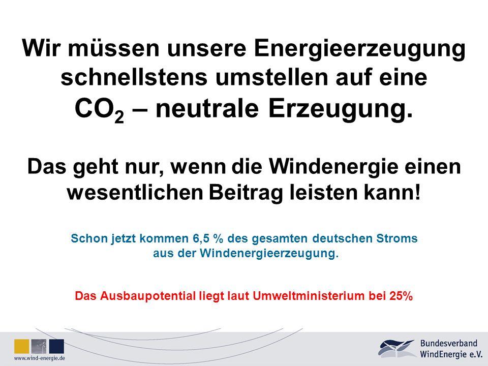 Wir müssen unsere Energieerzeugung schnellstens umstellen auf eine CO 2 – neutrale Erzeugung. Das geht nur, wenn die Windenergie einen wesentlichen Be