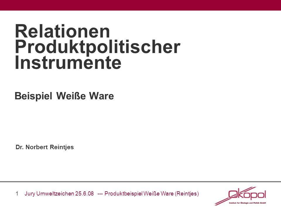 1 Jury Umweltzeichen 25.6.08 --- Produktbeispiel Weiße Ware (Reintjes) Beispiel Weiße Ware Relationen Produktpolitischer Instrumente Dr. Norbert Reint