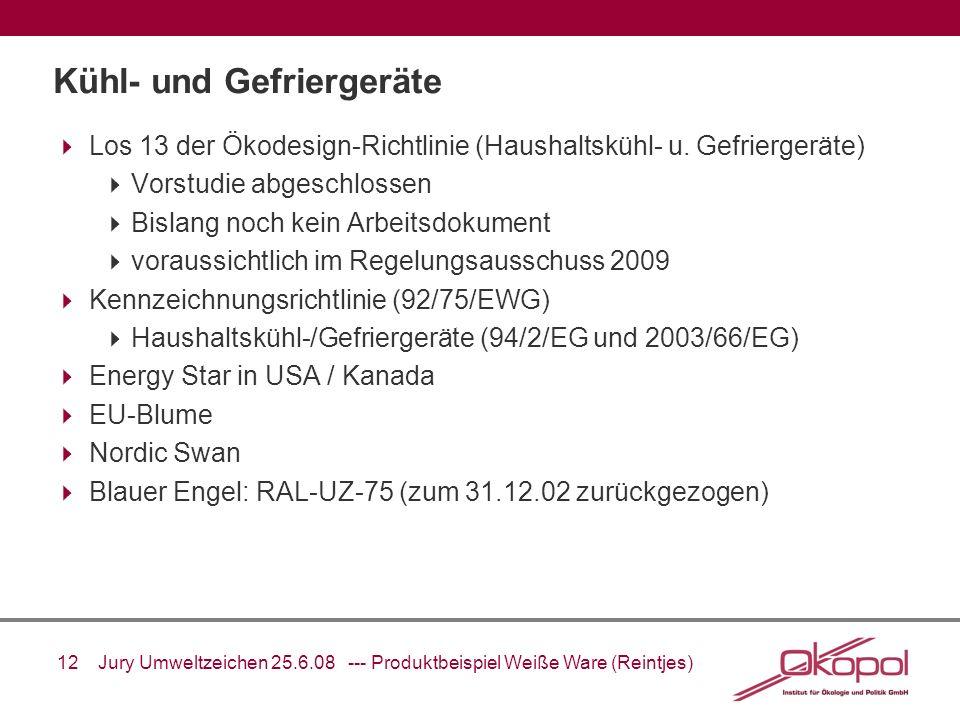 12 Jury Umweltzeichen 25.6.08 --- Produktbeispiel Weiße Ware (Reintjes) Kühl- und Gefriergeräte Los 13 der Ökodesign-Richtlinie (Haushaltskühl- u. Gef