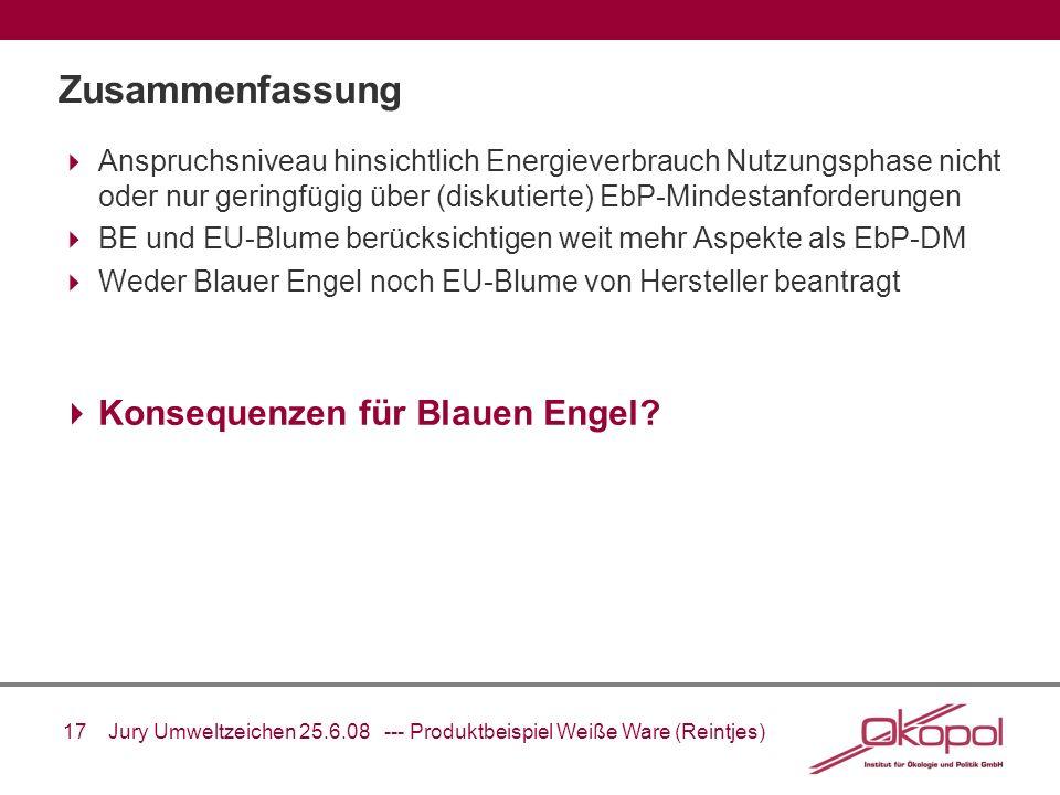 17 Jury Umweltzeichen 25.6.08 --- Produktbeispiel Weiße Ware (Reintjes) Zusammenfassung Anspruchsniveau hinsichtlich Energieverbrauch Nutzungsphase ni
