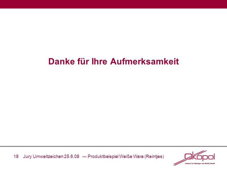 18 Jury Umweltzeichen 25.6.08 --- Produktbeispiel Weiße Ware (Reintjes) Danke für Ihre Aufmerksamkeit